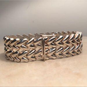 Vintage Silver Bracelet 925 Wide Heart Link